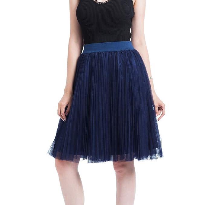 Rcool Falda Corta Faldas Faldas Mujer Invierno Faldas largas Falda Flamenca Mujer, Falda de Tul de Malla de 4 Capas Falda Plisada de Princesa: Amazon.es: ...