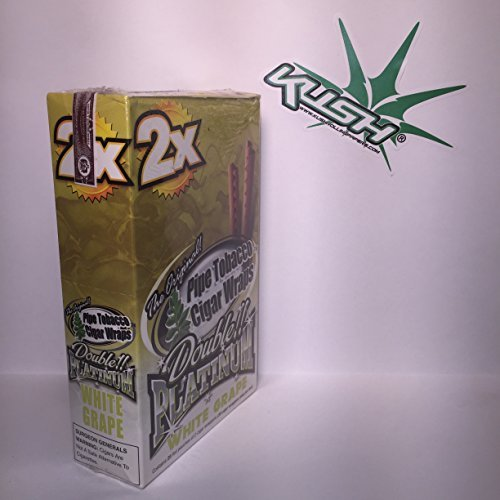 Double-Platinum-Wraps-2x-White-Grape-Flavor-Box-of-25-Packs-Limited-Edition-Kush-Sticker