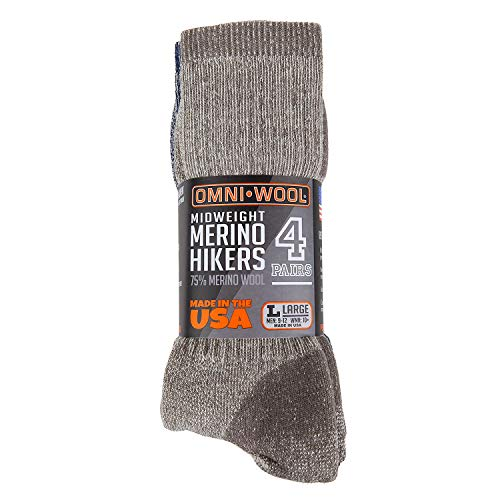 Omni-Wool Merino Wool Midweight Hiker Socks 4 Pack (Large)