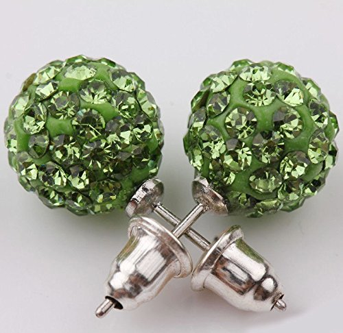 suchadaluckyshop Vogue Girl Austrian Czech Crystal Pave Disco Clay Ball Stud Earrings 10mm