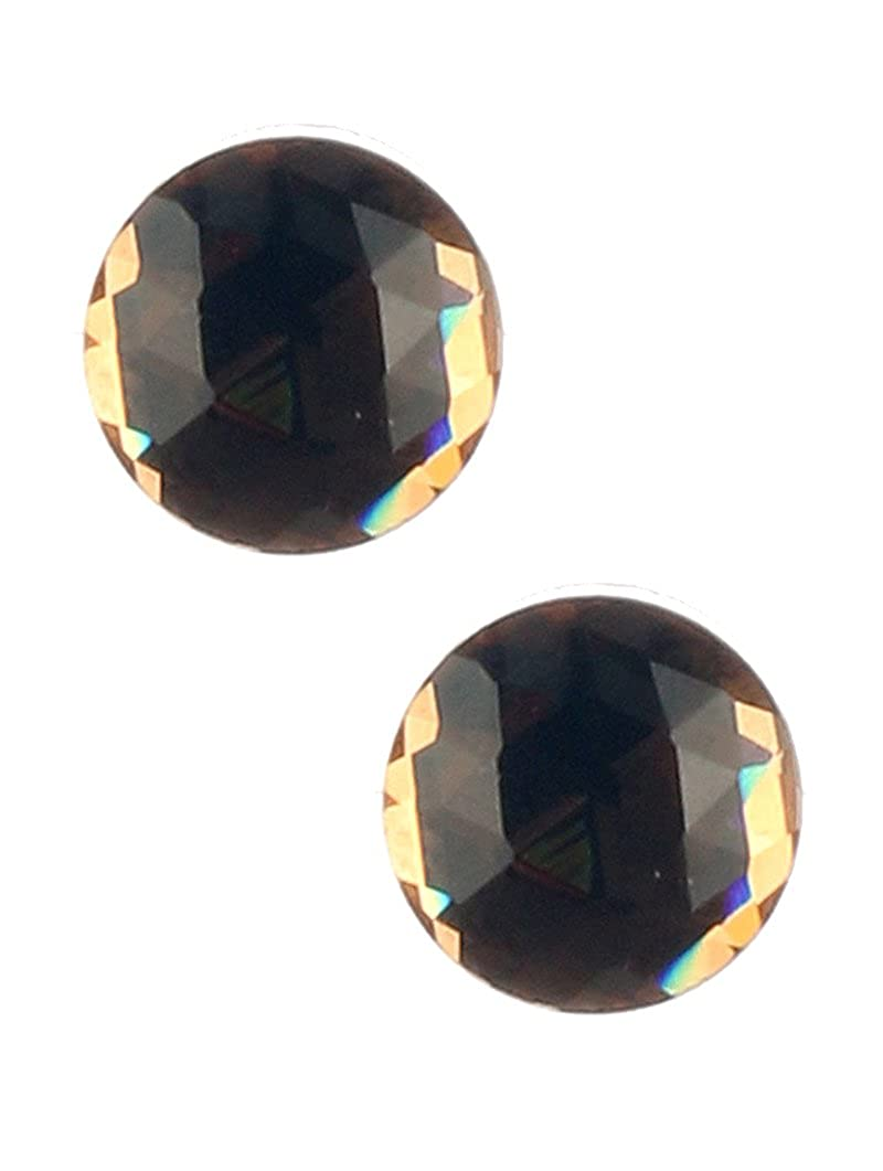 Brown round stud faceted lucite stone earring Fashion Jewelry FancyCharm