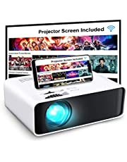 "Projector, GooDee WiFi Mini Projector with Projector Screen, Synchronize Wireless Video Projector LED 1080p Full HD, 200"" Display Portable Home Movie Projector Compatible with TV Stick/DVD/USB"