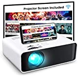 Projector  GooDee WiFi Mini Projector with Projector Screen  Synchronize Wireless Video Projector LED 1080p Full HD  200 inch Display Portable Home Movie Projector Compatible with TV Stick/DVD/USB/HDMI
