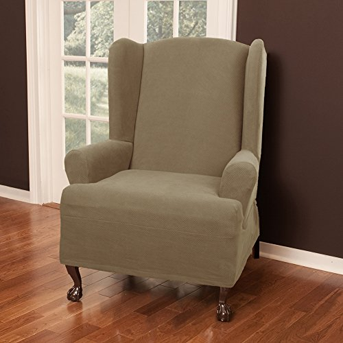 Maytex Pixel Stretch 1 Piece Slipcover Wing Chair, Sand