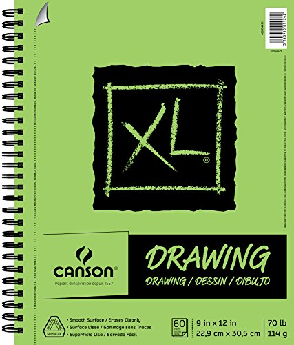 Canson XL Series Drawing Paper Pad, Micro Perforated, Smooth Surface, Side Wire Bound, 70 Pound, 9 x 12 Inch, 60 Sheets ()