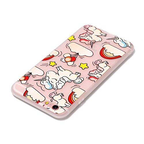 iPhone 6 / 6S Coque,3D arc-en-Unicorn Premium Gel TPU Souple Silicone Transparent Clair Bumper Protection Housse Arrière Étui Pour Apple iPhone 6 / 6S + Deux cadeau