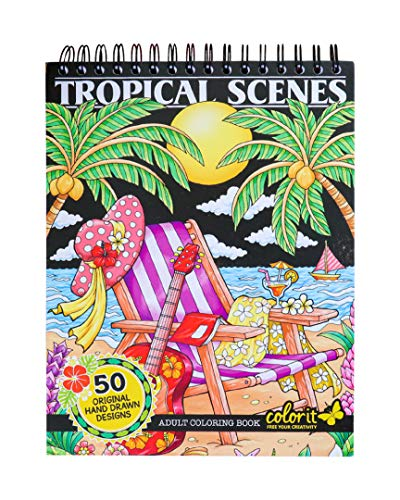 ColorIt Colorful Tropical Scenes Adult Coloring Book - 50 Single-Sided Designs, Thick Smooth Paper, Lay Flat Hardback Covers, Spiral Bound, USA Printed, Tropical Pages to Color -