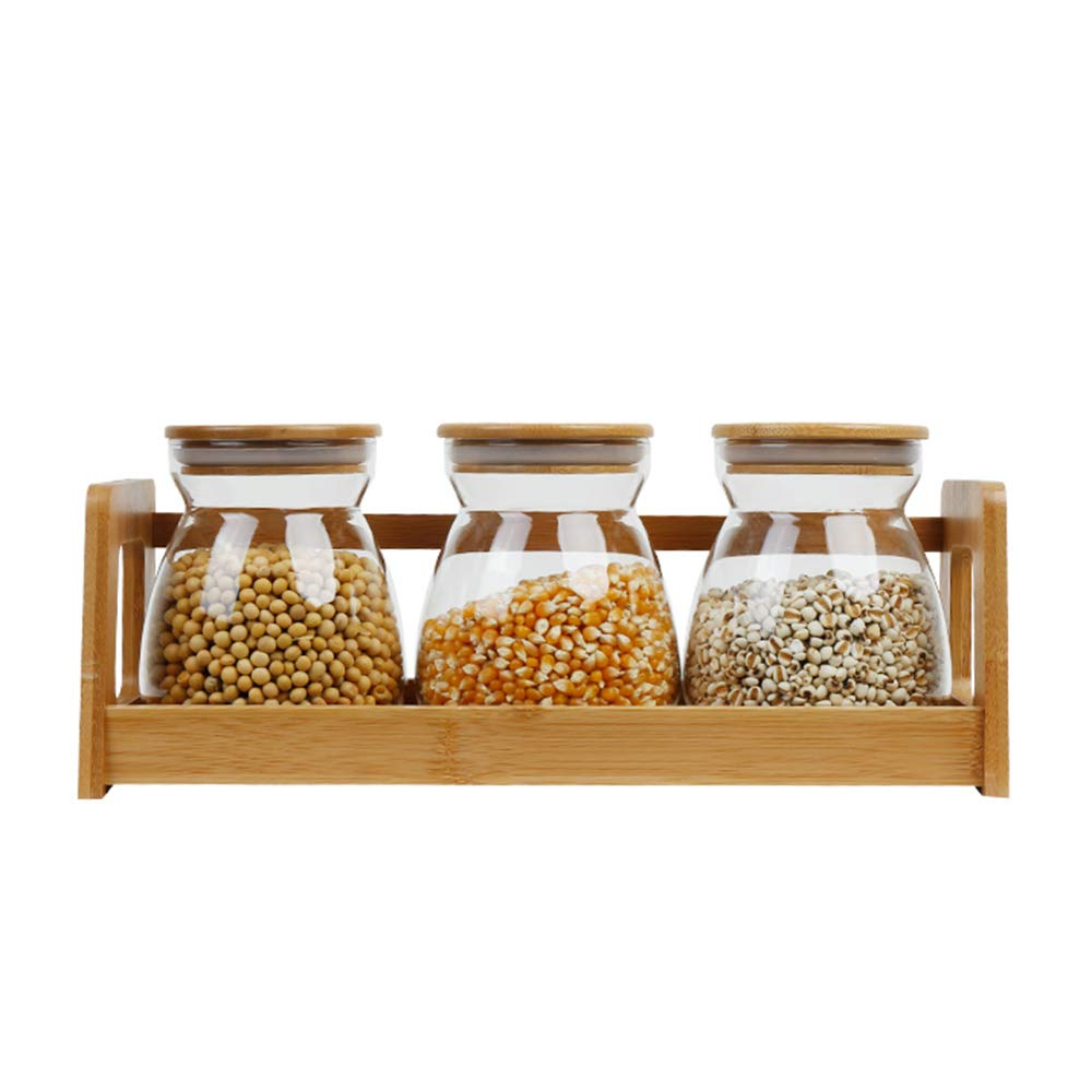 Glass Sealed Jars, Kitchen Household Grain Containers, With Display Stand, Storage, Spices/Oatmeal/Flower Tea