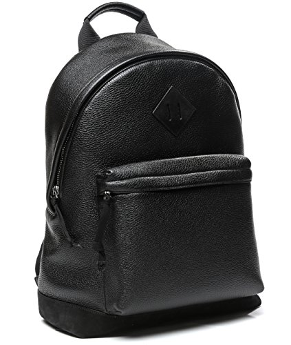 Wiberlux Tom Ford Men's Pebbled Real Leather Patch Detail Zippered Backpack One Size Black