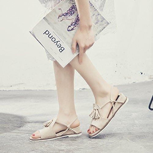 SOHOEOS Flop Color Sandalias Señoras nuevo para cuero plana señoras Flip de moda auténtico arena Mujer plano Verano casual 88rHqgw