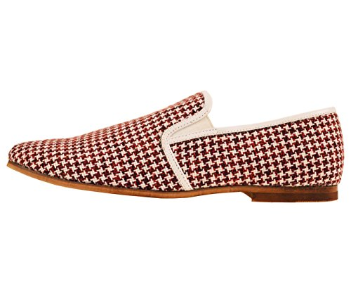 Amaliene Menns Dress Casual Loafers I Vevd Brodert Design Woodlike Eneste Stiler Trey, Felle, Harmon Rød / Houndstooth