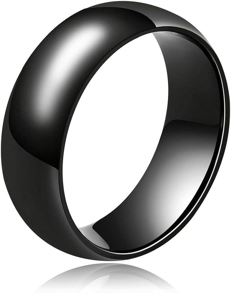 Epinki Joyería Cerámica Anillo Amplia Plana Ronda Forma Negro Cúpula Anillo para Hombre Accesorios para Hombre