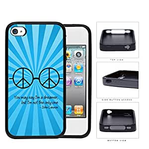 Dreamer John Lennon Quote with Peace Hippie Sunglasses (Blue Swirls) iPhone 4 4s Rubber Silicone TPU Cell Phone Case