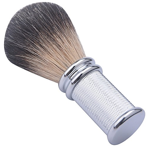 (CSB Hand Made Pure Black Badger Hair Shave Brush with Chrome Metal Handle)