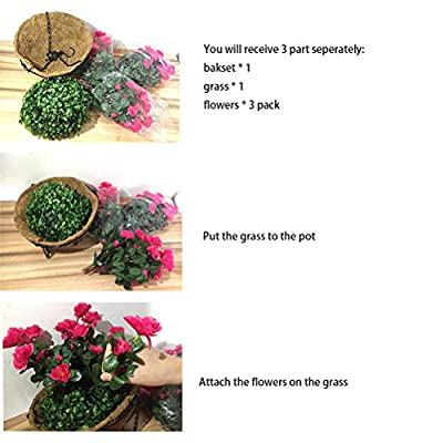 Lopkey Outdoor Artificial Red Azalea Bush Flower Patio Lawn Garden Hanging Basket with Chain Flowerpot,Yellow: Home & Kitchen