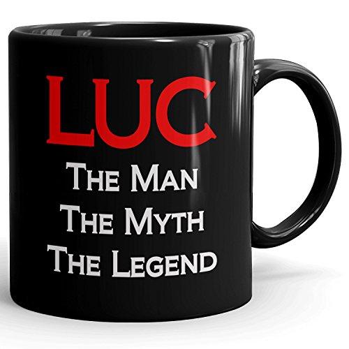 Custom Luc Mug - The Man The Myth The Legend - Best Gifts for men - 11oz Black Mug - Red