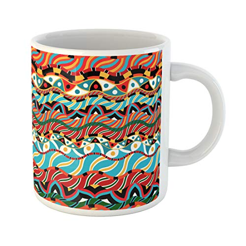 Semtomn Funny Coffee Mug Pattern Based African Ornaments Africa Afro Coconut Baobab South Tree 11 Oz Ceramic Coffee Mugs Tea Cup Best Gift Or Souvenir