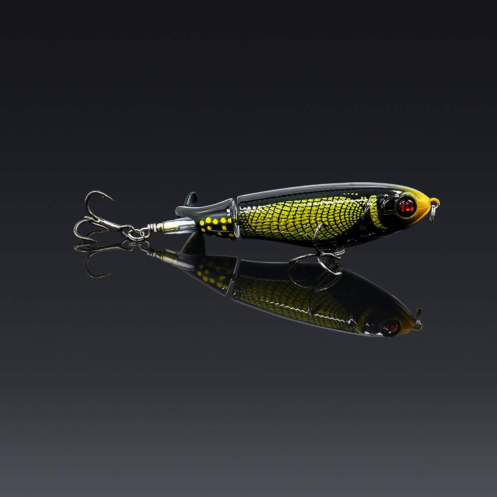 GUFIKY 10-Pack Whopper Plopper Fishing Lures 4.13 inch/0.6 oz with Rotating Spins Tail for Bass,Trout ,Walleye,Pike and Musky Topwater Floating Hard Baits Swimbaits with Barb Treble Hooks by GUFIKY (Image #2)