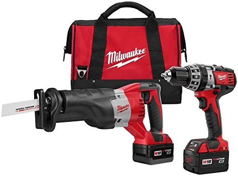 Milwaukee 2694-22 M18 18-Volt Lithium-Ion Cordless Hammer Drill Sawzall Combo Kit 2-Tool
