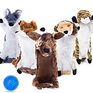 Mademax Dog Squeaky Toys No Stuffing, 5 Pack Dog Toys Crinkle Dog Toys for Small Dogs Durable Dog Chew Toys Plush Cute Animals Natural Puppy Toys for Teething Pet Toys with a Squeak Balls