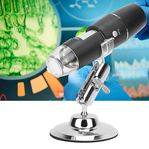 Fxqlove WiFi Digital Microscope, 50-1000X USB Digital Handheld Microscope , Digital Magnification Endoscope Camera 8 LEDs,Metal Stand,Compatible with iPhone Pad Android