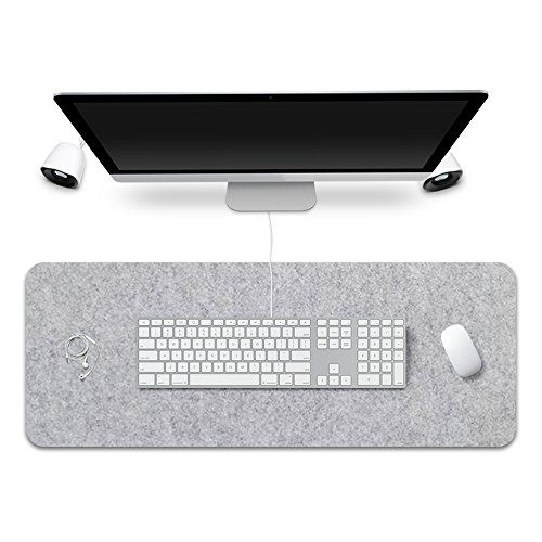 FireBee Extended Gaming Mouse Pad Desk Pad Protector Office Writing Mat Felt Base 0.12 inch Thick (Light Gray) by FireBee
