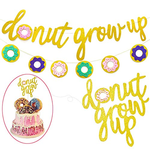 Donut Theme Party Decorations, Glitter Gold Hanging Banner & Garland Signs Pink Donut Grow Up Cupcake Topper for Kid Girl First Birthday Happy Boy 1st Bday Baby Shower Wedding Photo Props