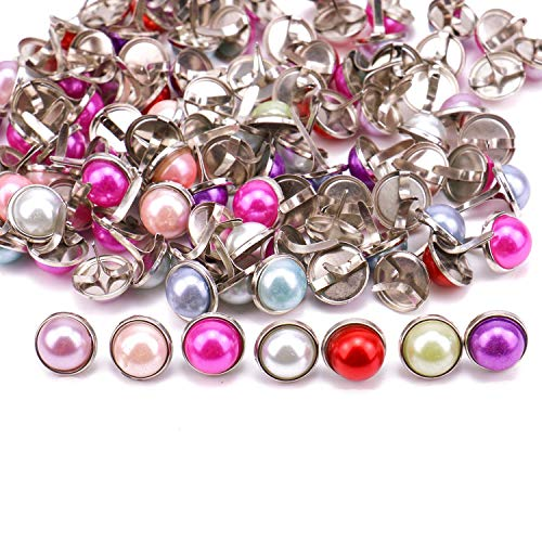 - JETEHO 100pcs 12mm Mixed Colors Pearl Brads Paper Fasteners Brads Round Brad Craft Scrapbooking Card