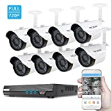 TECBOX Security Video Camera System 8 Channel 720P AHD DVR Recorder No HDD with 8 2.0MP Waterproof Motion Night Vision HD CCTV Indoor Weatherproof Home Outdoor Security Camera