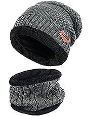 Wintermuts volwassenen fleece slouchy warme gebreide muts en sjaal Soft Lined.YR.Lover