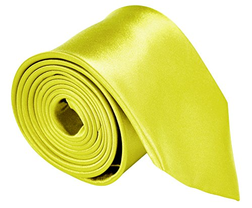 (Neckties For Men 3.5 Microfiber Woven Satin Neck Ties For Men Solid Color - Lemon)