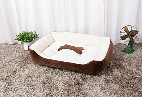 "Elegant Brown XL (36""L x 28""W x 6""H) Elegant Brown XL (36""L x 28""W x 6""H) LanXi PET Portable Bed Cuddler for Dogs & Cats, Home Soft Warm Sofa for Puppies & Kitties (XL (36 L x 28 W x 6 H), Elegant Brown)"