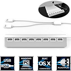 "Sabrent Premium Bus-powered 8 Port Aluminum Usb 2.0 Hub (30"" Cable) For Imac, Macbook, Macbook Pro, Macbook Air, Mac Mini, Or Any Pc (Hb-mc82)"