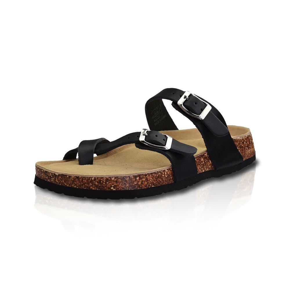 LA PLAGE Girl Women's Adjustable Toe Ring Thong Cork Shoes for Summer 10 US Black