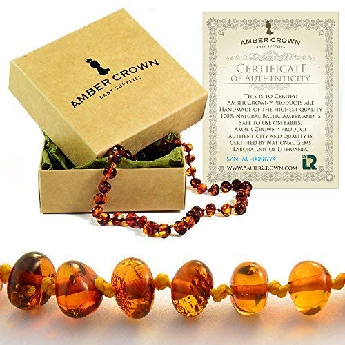 Amber Teething Necklace for Babies - Anti Inflammatory, Drooling and Teething Pain Reducing Natural Remedy - Made of Highest Quality Certified Baltic Amber - Perfect Baby Shower Gift - (Honey) -