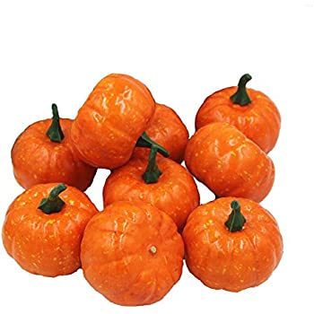 ehdching pack of 16 artificial realistic fall harvest mini pumpkins for halloween home decoration - Fake Halloween Pumpkins