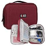 BUBM Nylon Electronic Accessories Travel Cord Plugs USB Battery Organizer (L,Red)