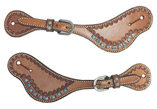 The Colorado Saddlery 26-5102Dk Turquesa Spur Strap, Dark Brown (Straps Saddlery Spur)