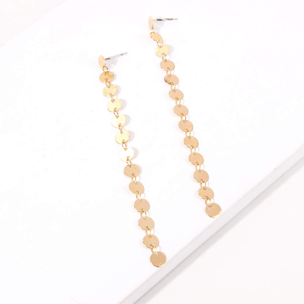 YAZILIND Fashion Simple Personality Copper Small Round Long Earrings Jewelry for Women Girl