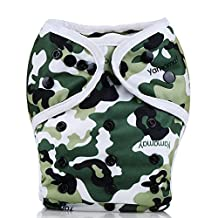 Mumsbest Baby Printed Cloth Diaper Cover for Prefolds One Size Double Gussets Washable Adjustable