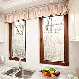 24-by-72-Inch Leyden Cut Glass Cobble Pattern No-Glue 3D Static Decorative Glass Window Films