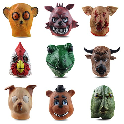 MostaShow Lizard Sparrow Toy Bear Pigeon Tiger Snout Dog Scarred Pig Realistic Animal Head Halloween Costume Masks (Lizard)