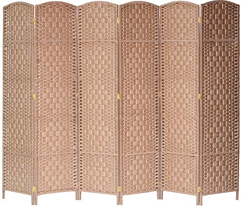 Legacy Decor 6 Panel Diamond Weave Fiber Room Divider, Natural Color