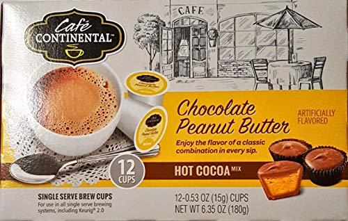 Peanut Butter Cocoa - Cafe Continental CHOCOLATE PEANUT BUTTER HOT COCOA 12 Cups. Single Serve Brew Cups, Keuring 2.0. (Chocolate Peanut Butter)