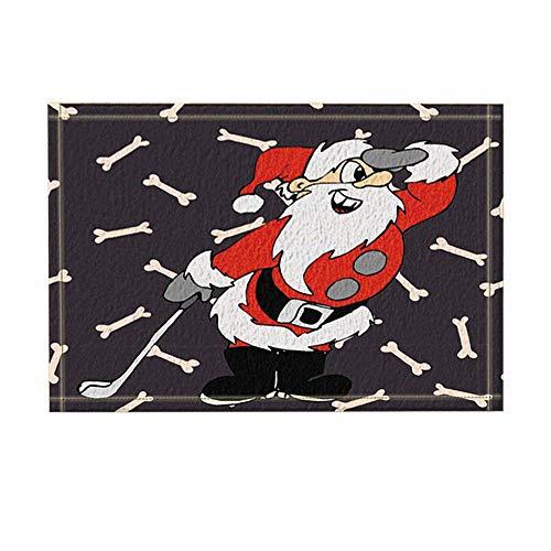 GoHeBe Christmas Decor, Santa with A Brassie, Non-Slip Doormat Floor Entryways Indoor Front Door Mat, Kids Bath Mat, 15.7x23.6in, Bathroom -