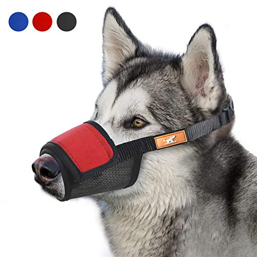 Soft Dog Muzzle Cover with Dogs Hook & Loop for Small,Medium and Large Dogs, Anti Biting and Chewing, Adjustable, Breathable(XL,Red)