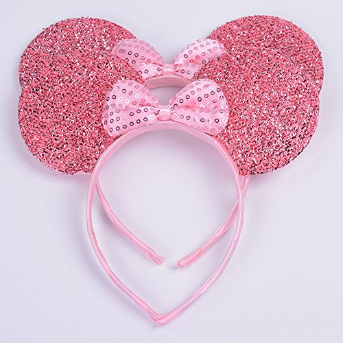 Set of 2 Mickey Minnie Mouse Ears Headband Boys Girls Birthday Party Mom Hairs Accessories Baby Shower Headwear Halloween Party Decorations Glitter Deluxe Fabric Ears with Sequin Bow (Pink Sequin)]()
