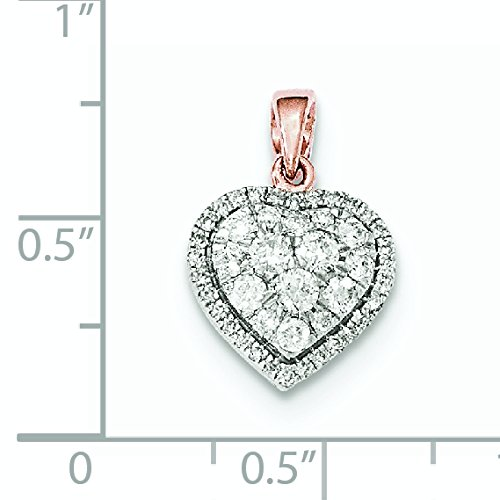 Diamants en or Rose 14 carats Pendentif coeur poli-JewelryWeb