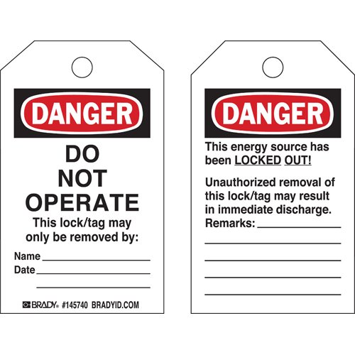 Brady 145768 Plastic''Danger DO NOT Operate'' Toughwash Tag, 5'' Height X 3'' Width, Black/Red/White (Pack of 10) by Brady