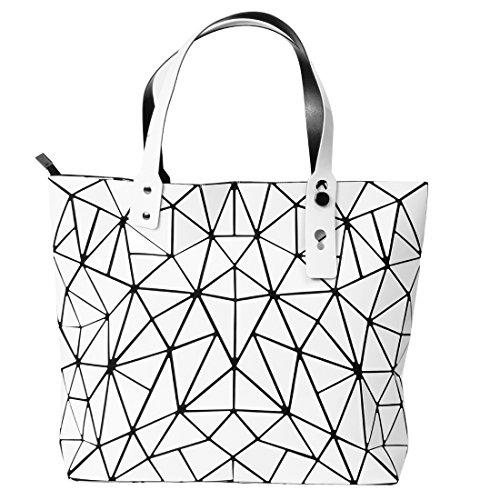 KAISIBO Unique Design Geometric Lattice Handbag Totes Purses for Women (Irregular -